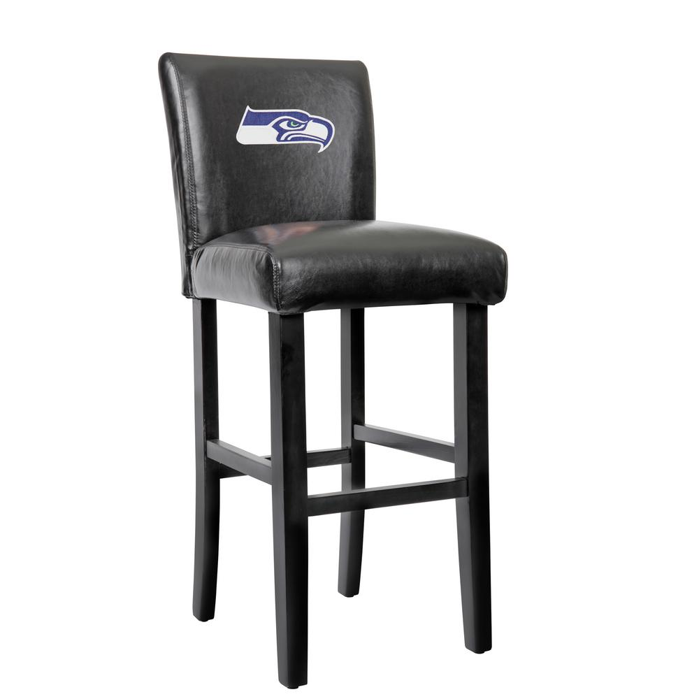 Seattle Seahawks 30 In Black Bar Stool With Faux Leather
