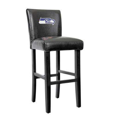 Seattle Seahawks 30 in. Black Bar Stool with Faux Leather Cover (Set of 2)