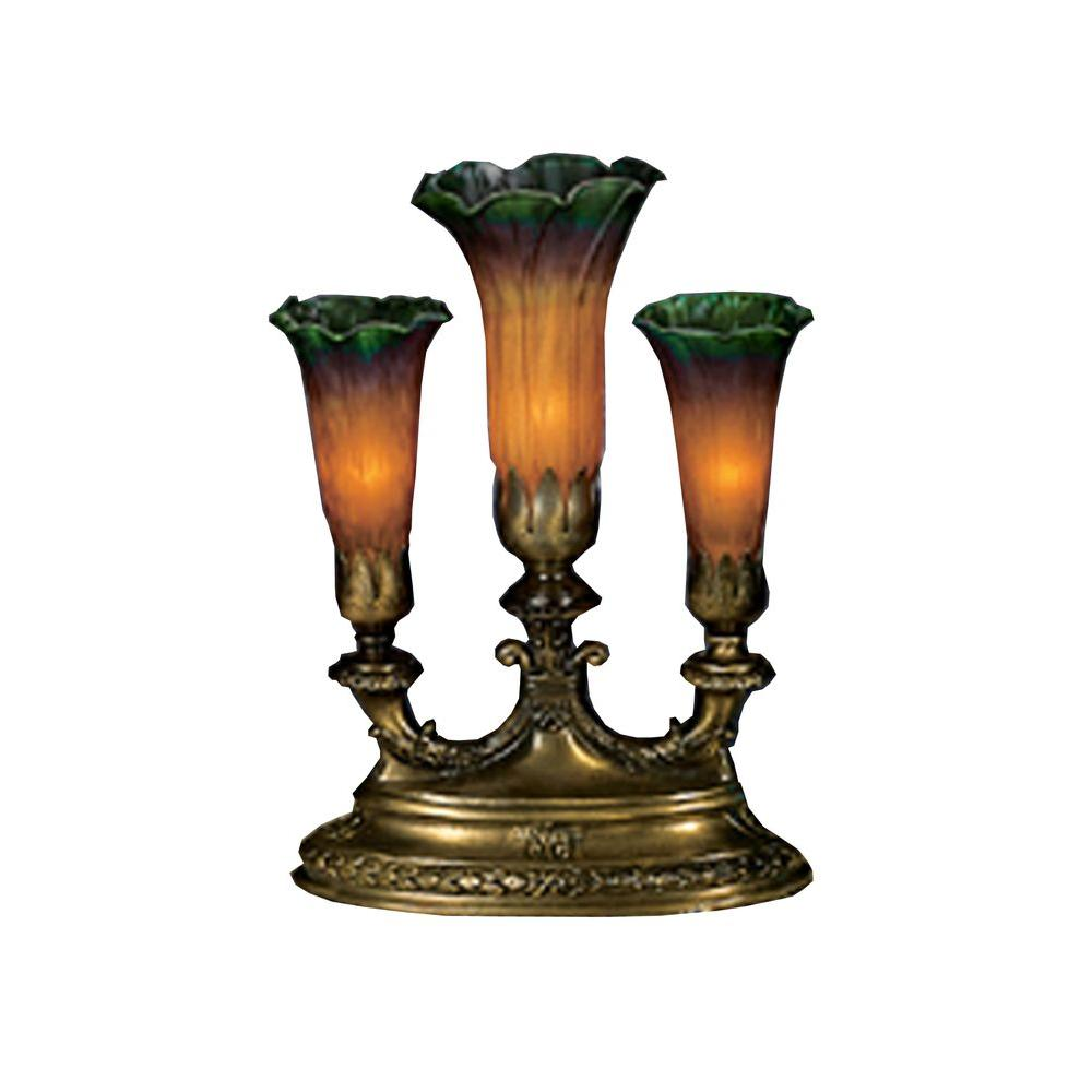 Illumine 3 Light Amber/Green Pond Lily 3 Light Accent Lamp