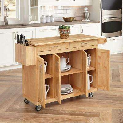 Natural Kitchen Cart With Breakfast Bar