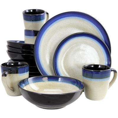Couture Bands 16-Piece Blue Dinnerware Set