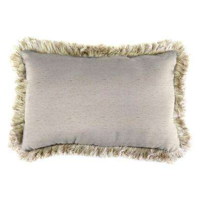 Sunbrella 19 in. x 12 in. Frequency Parchment Lumbar Outdoor Throw Pillow with Canvas Fringe