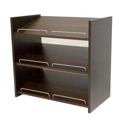 Stackable 24 in. H x 25 in. W Espresso Shoe Storage