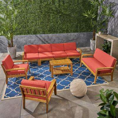Grenada 8-Piece Wood Patio Conversation Set with Red Cushions