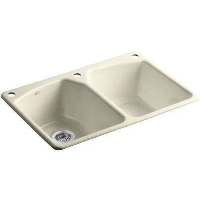 Tanager Drop-In Cast-Iron 33 in. 3-Hole Double Bowl Kitchen Sink in Cane Sugar