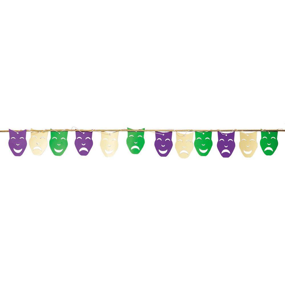 9 ft. Mardi Gras Foil Mask String Garland (3-Pack)