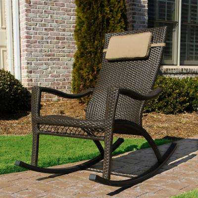 Tuscan Lorne Oversized Wicker Outdoor Rocking Chair with Head Cushion