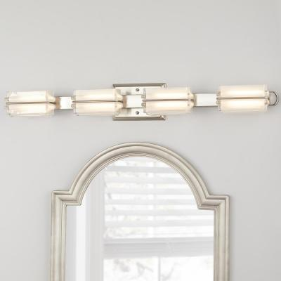 Saltarell 40-Watt Equivalent 4-Light Brushed Nickel LED Vanity Light with Clear Etched Glass