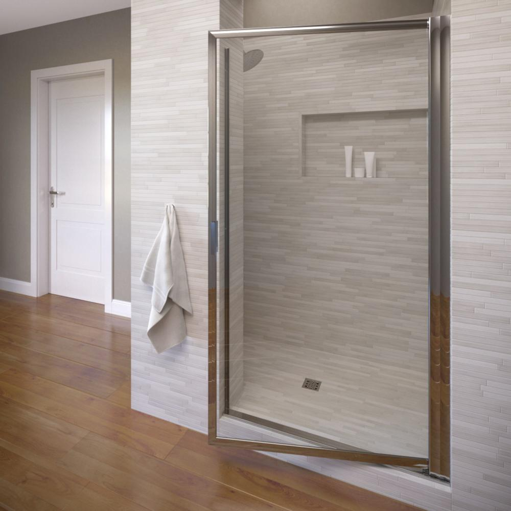 Basco Deluxe 34-7/8 in. x 63-1/2 in. Framed Pivot Shower Door in Silver