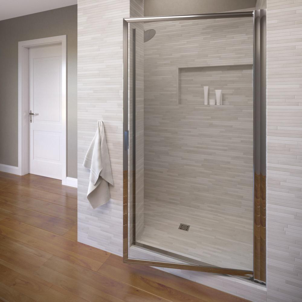 Deluxe 34-7/8 in. x 63-1/2 in. Framed Pivot Shower Door in Silver