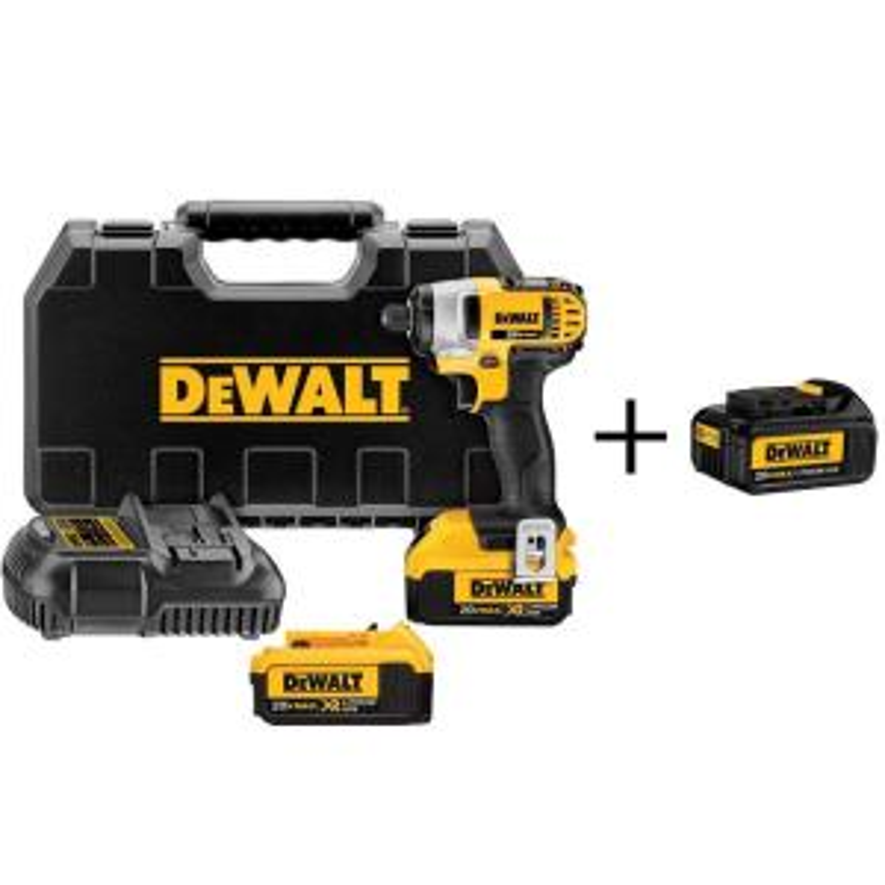 Dewalt 20-Volt MAX Lithium-Ion Cordless 1/4 inch Impact Driver with (2) Batteries 4Ah, Charger, Case and Bonus... by DEWALT