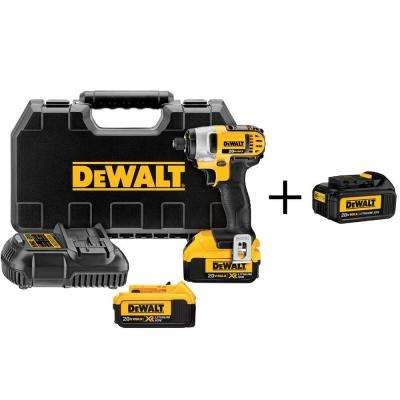 20-Volt MAX Lithium-Ion Cordless 1/4 in. Impact Driver with (2) Batteries 4Ah, Charger, Case and Bonus Battery 3Ah