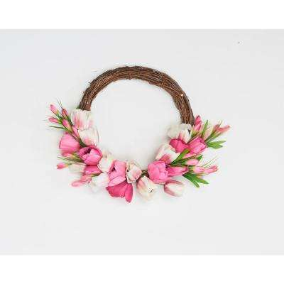 17 in. Tulip Wreath on Natural Twig Base