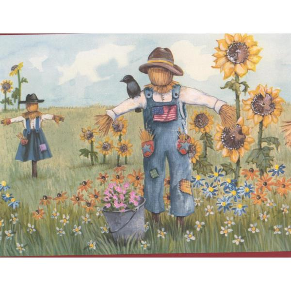 Retro Art American Flag Field Sunflowers Scarecrows Blue Sky