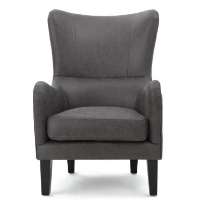 Lorenzo Studded Slate Fabric High Back Club Chair