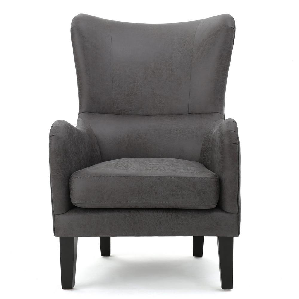 Lorenzo Studded Slate Fabric High Back Club Chair