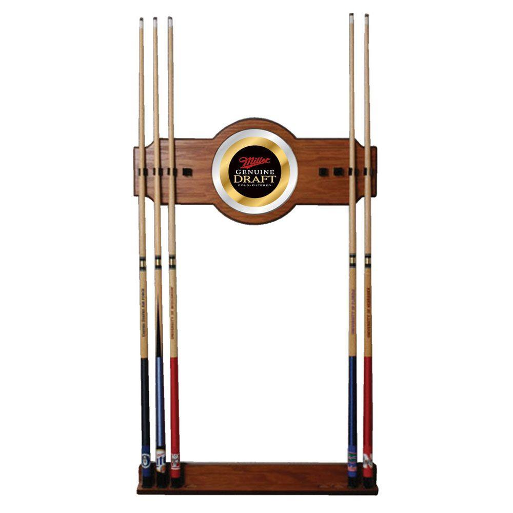 Miller Genuine Draft 30 in. Wooden Billiard Cue Rack with Mirror