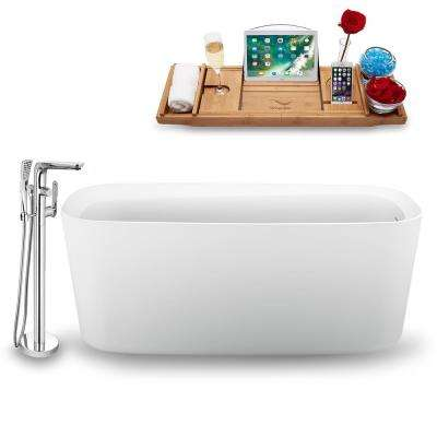 Tub, Faucet, and Tray Set 59 in. Freestanding Acrylic Flatbottom Bathtub in Glossy White