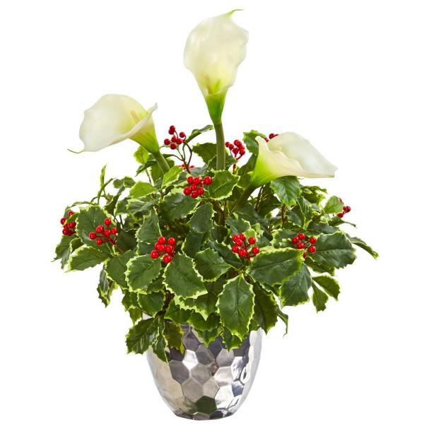 Nearly Natural Calla Lilly and Holly Leaf Artificial Arrangement in Silver