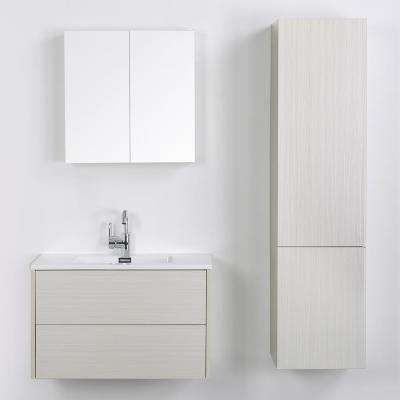31.5 in. W x 19.3 in. H Bath Vanity in Gray with Resin Vanity Top in White with White Basin and Mirror