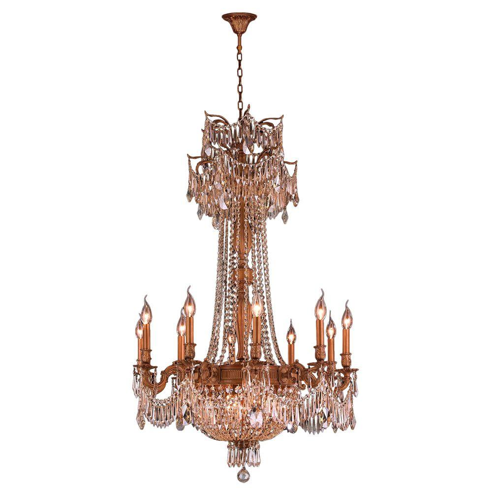 Worldwide lighting winchester collection 15 light french gold worldwide lighting winchester collection 15 light french gold chandelier with golden teak crystal arubaitofo Choice Image
