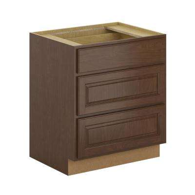 Madison Assembled 30x34.5x24 in. Pots and Pans Drawer Base Cabinet in Cognac