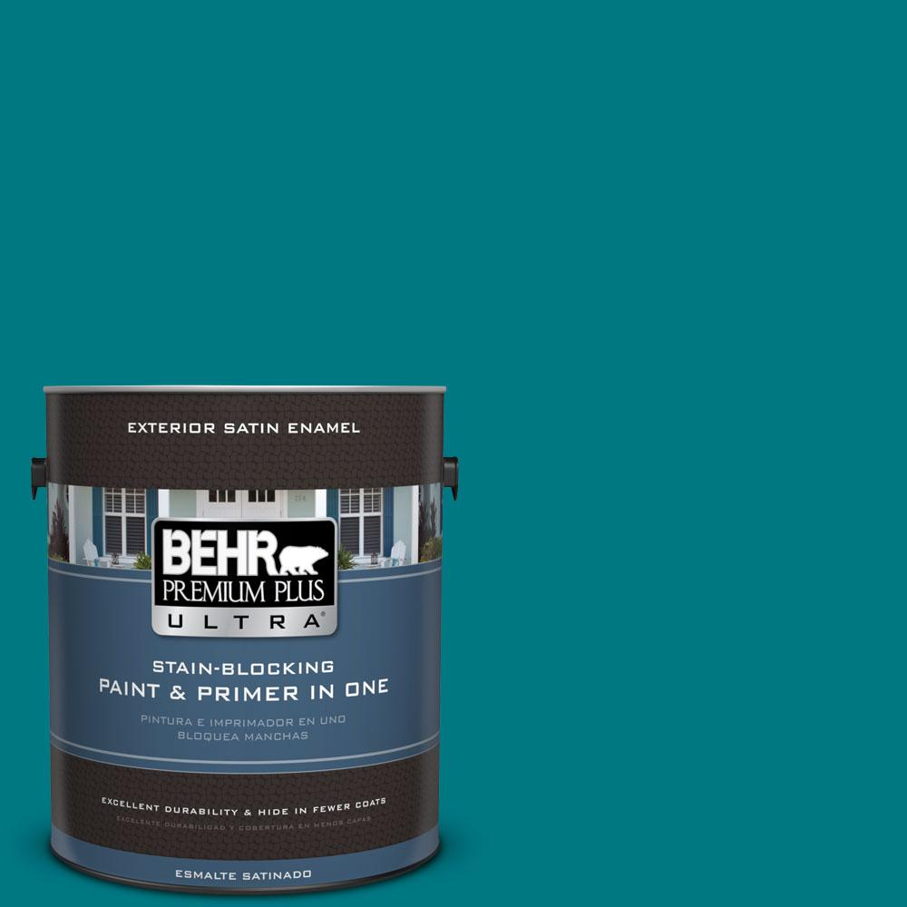 BEHR Premium Plus Ultra 1-gal. #P470-7 The Real Teal Satin Enamel Exterior Paint