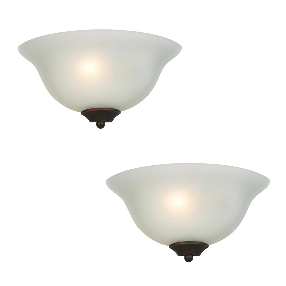 Commercial Electric 1 Light Oil Rubbed Bronze Wall Sconce 2 Pack Jjw8451a The Home Depot