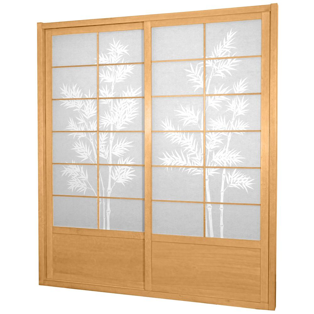 Incroyable Natural Bamboo Tree 2 Panel Sliding Door