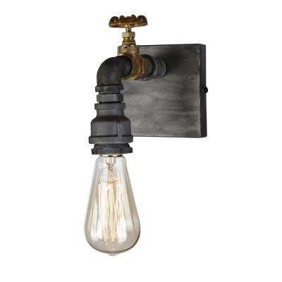 American Industrial 1-Light Iron and Brass Sconce