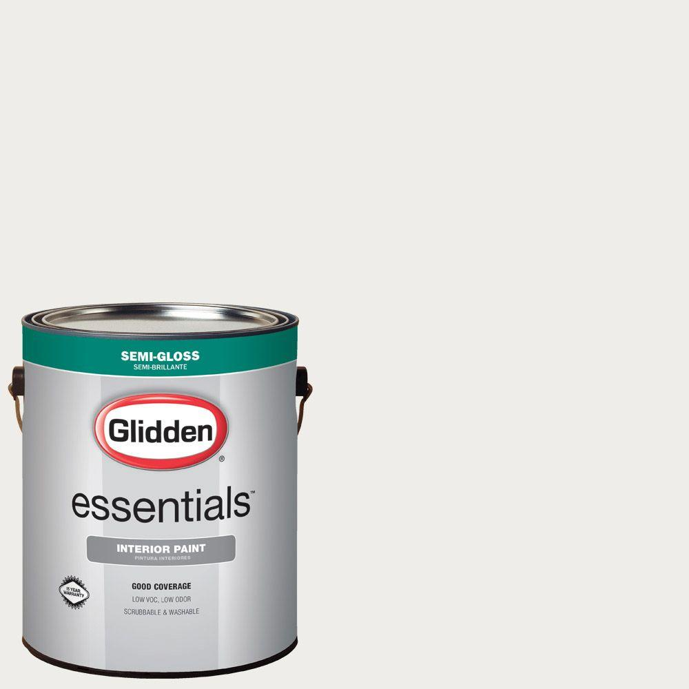 Merveilleux Glidden Essentials 1 Gal. #HDGWN56 Swan White Semi Gloss Interior Paint