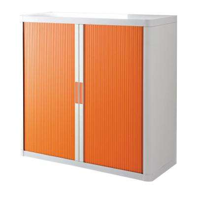 Paperflow easyOffice White and Orange 41 in. Tall Storage Cabinet with 2-Shelves