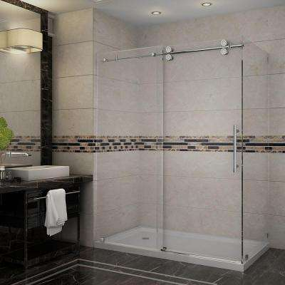 Langham 60 in. x 35 in. x 77-1/2 in. Completely Frameless Shower Enclosure in Chrome with Left Base