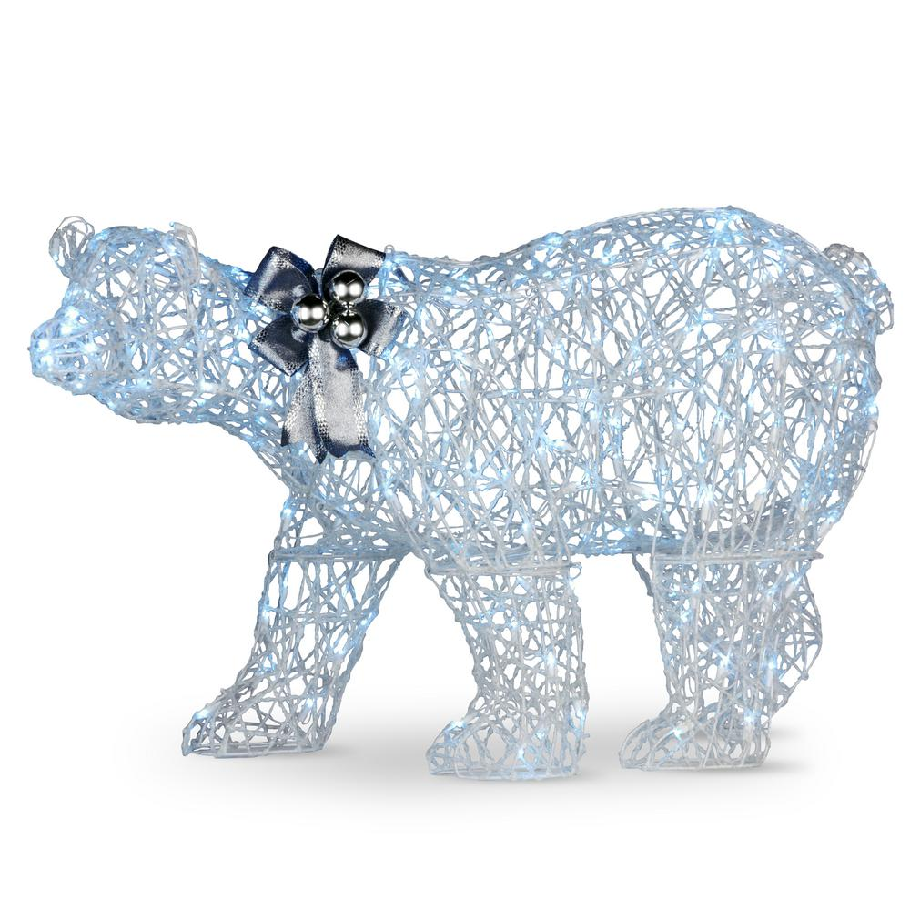 National Tree Company 48 In Glittered Polar Bear With 200 Cool