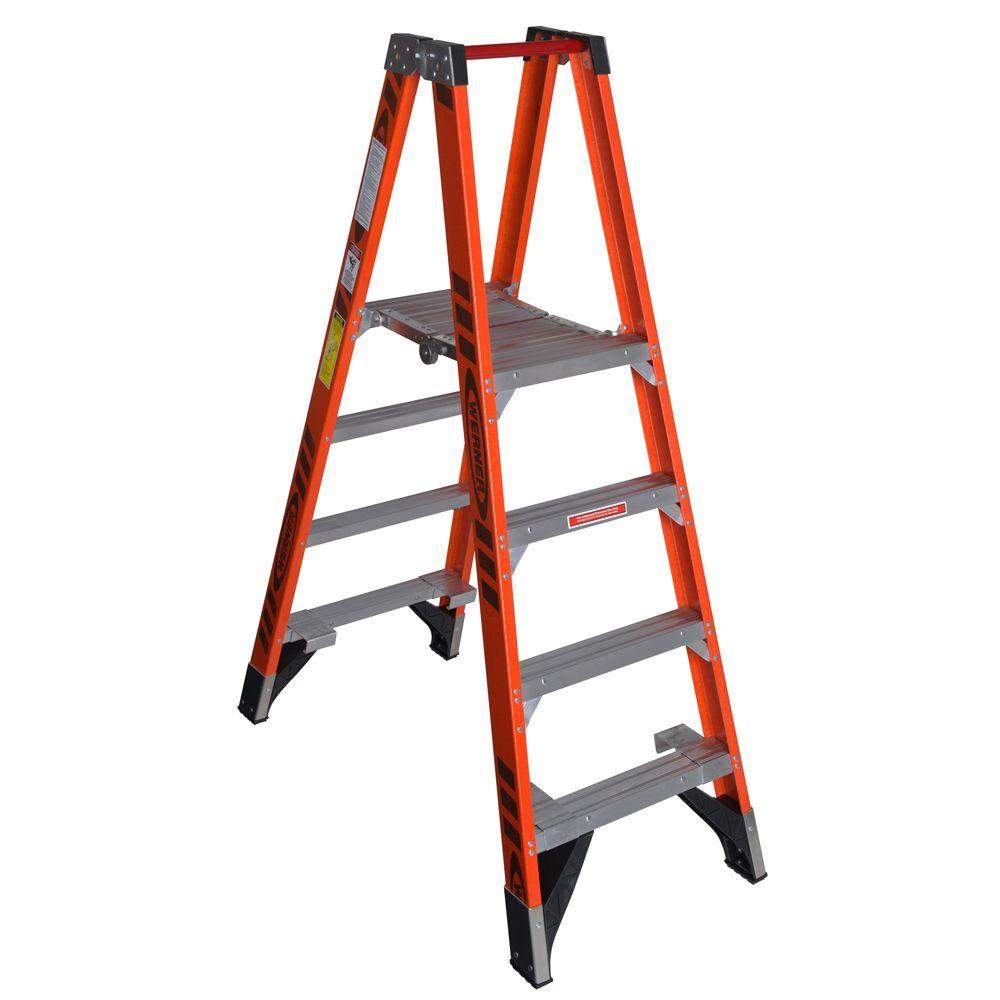 Werner 10 ft. Reach Fiberglass Platform Twin Step Ladder with 300 lb. Load Capacity Type IA Duty Rating
