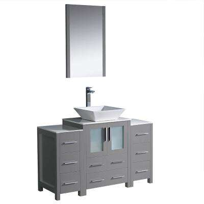 Torino 48 in. Bath Vanity in Gray with Glass Stone Vanity Top in White with White Vessel Sink, Side Cabinets and Mirror