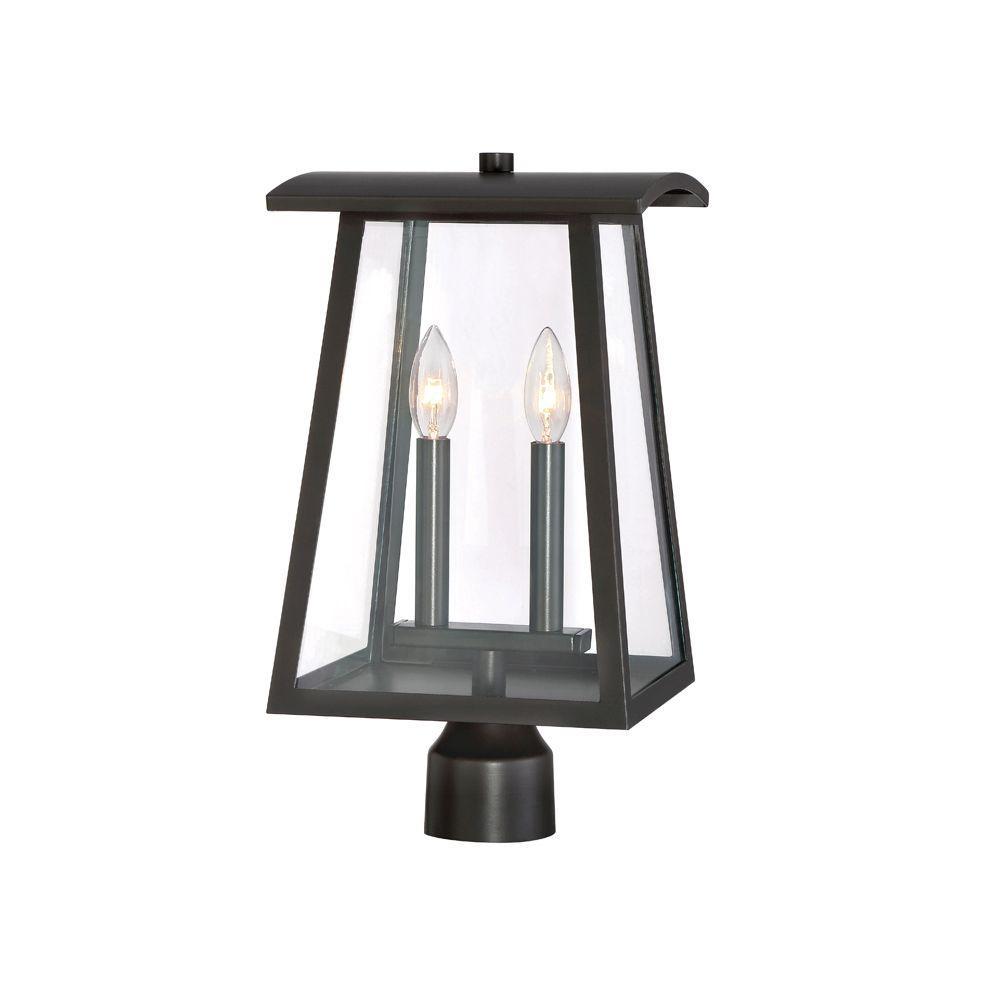 Calderwood 2-Light Burnished Bronze Outdoor Post Lantern