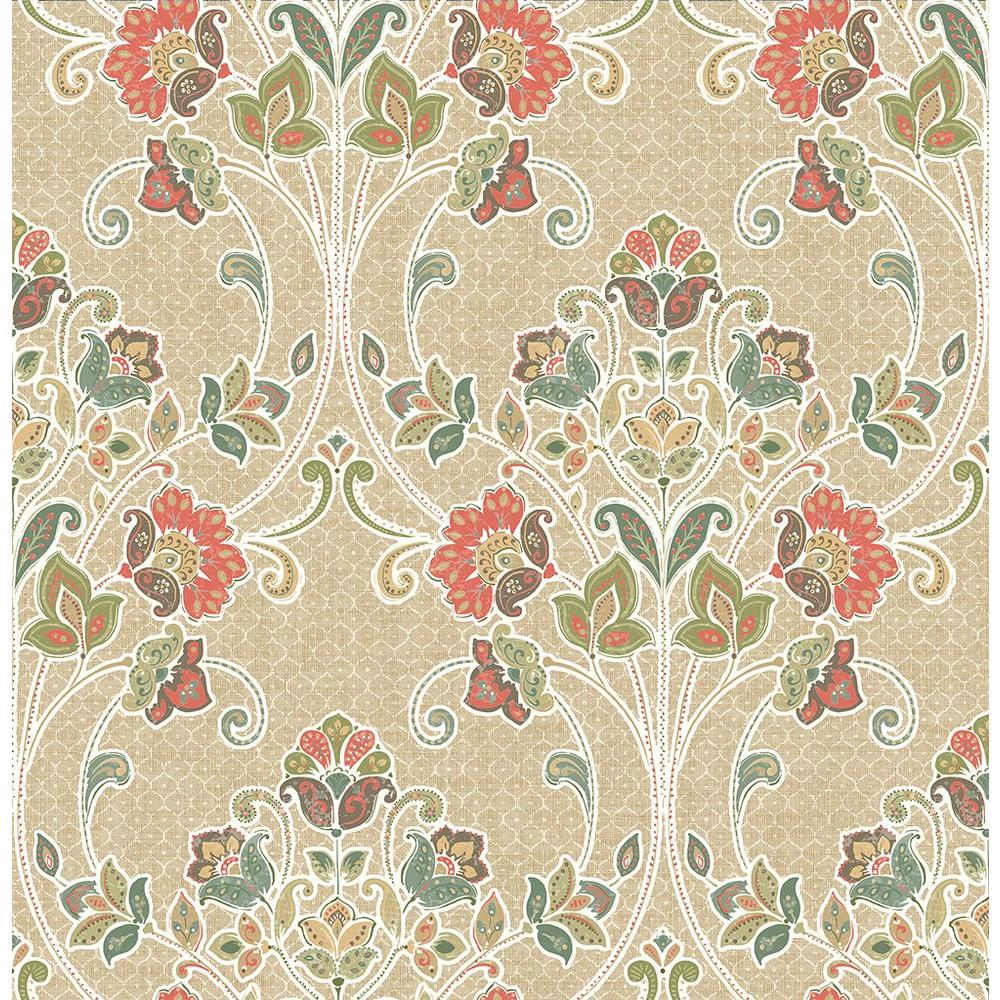 A Street Willow Coral Nouveau Floral Wallpaper Sample 1014