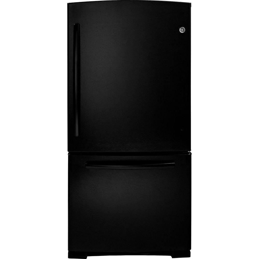 GE 23.1 cu. ft. Bottom Freezer Refrigerator in Black