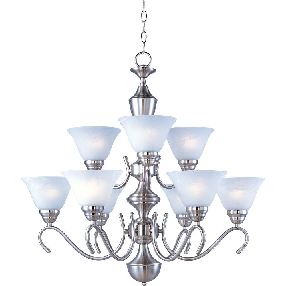 Maxim lighting newport 9 light satin nickel multi tier chandelier maxim lighting newport 9 light satin nickel multi tier chandelier mozeypictures Choice Image