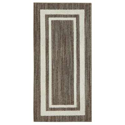 Border Loop Dark Khaki Spice Cream 2 ft. x 3 ft. Area Rug