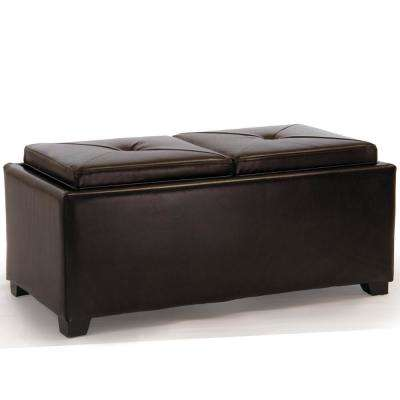 Maxwell Brown Bonded Leather Tray Top Storage Ottoman
