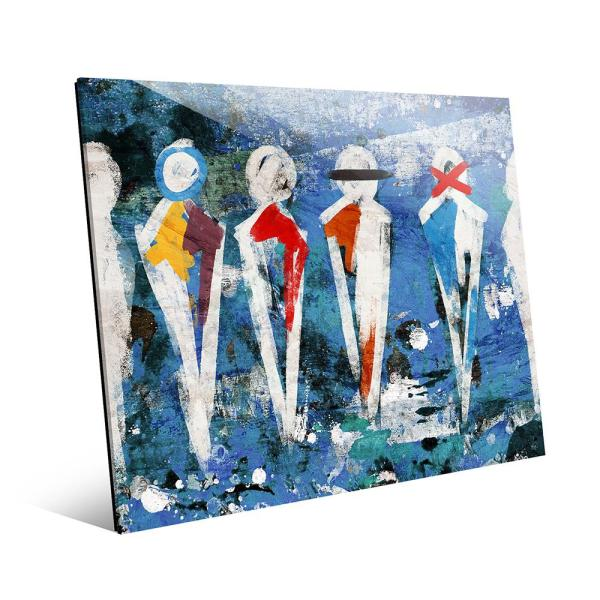 Creative Gallery 16 in. x 20 in. ''Abstract Figure Lineup Blue''