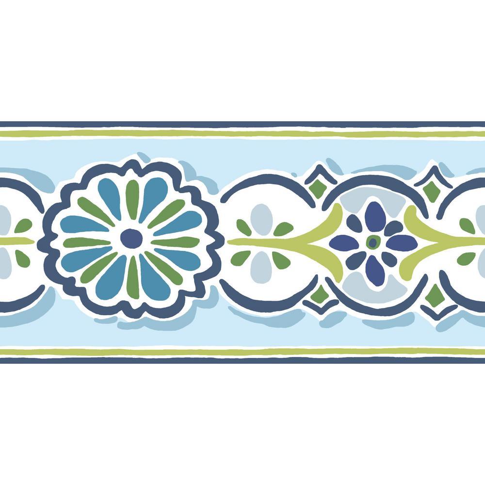 Folklore Border blue/green Wallpaper Border