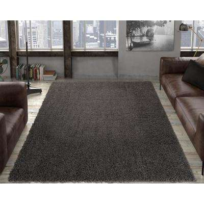 Contemporary Solid Dark Grey 8 Ft X 10 Shag Area Rug
