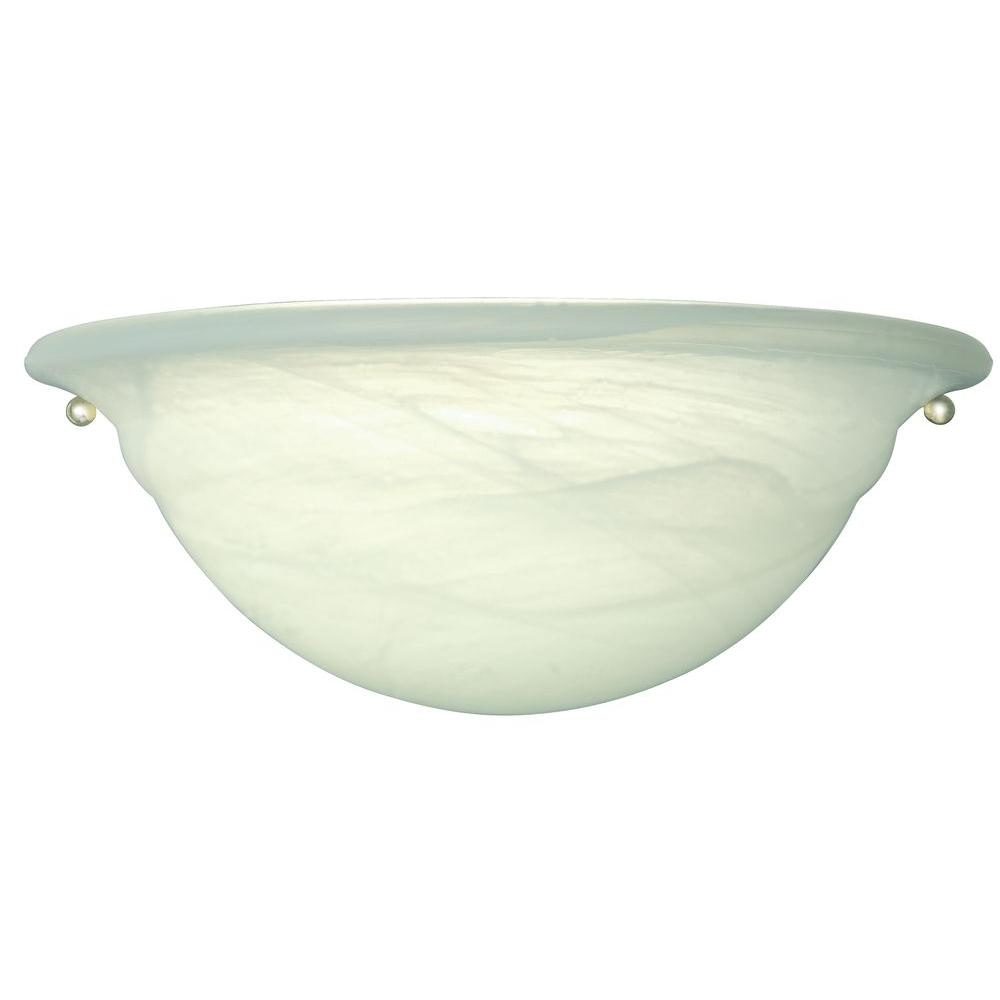 Hampton Bay 1-Light White Sconce with Alabaster Shade