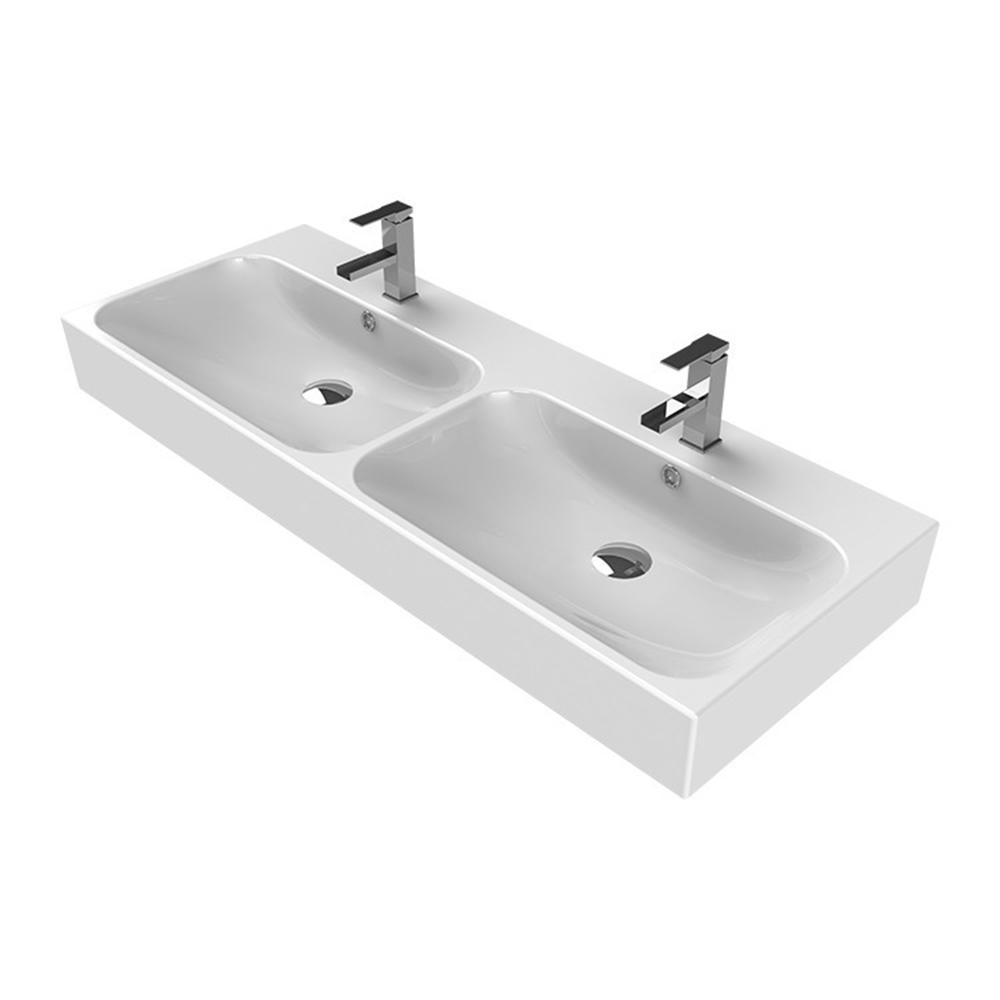 Pinto Wall Mounted Bathroom Sink in White
