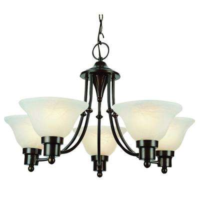 Stewart 5-Light Alabaster Chandelier with Marbleized Glass Shades