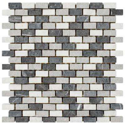 Griselda Subway Charcoal 11-3/8 in. x 12 in. x 9 mm Natural Stone Mosaic Tile