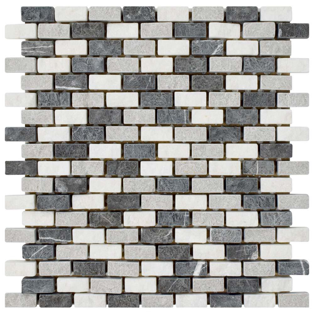 Merola Tile Griselda Subway Charcoal 11-3/8 in. x 12 in. x 9 mm Natural Stone Mosaic Tile